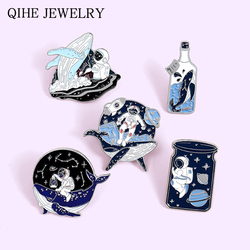 Explore Outer space Astronaut and Whale Enamel Pins Universe Drifting Wishing Bottle Brooches Science Badges Jewelry Wholesale
