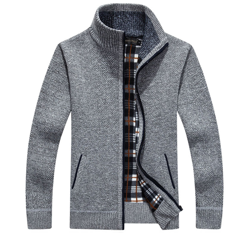 Men's Autumn Opener Zipper Sweater Thickened And  Velvet  Stand Collar  Men's Loose Warm Knitted Jacket