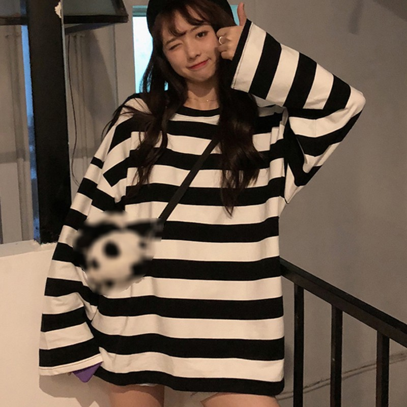 Summer Unisex Lover Couple T-shirt Oversized Striped O-Neck Casual Long Sleeve Loose TShirts  Y