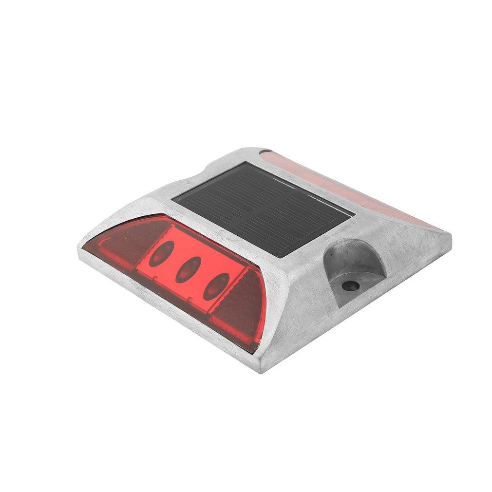 Aluminum Waterproof LED Solar Powered Road Stud Light Reflective Ground Light Path Deck Dock Warning Light