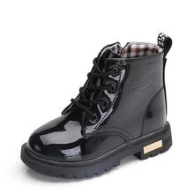 NEW 2019 Girls Leather Boots Boys Shoes Spring Autumn PU Leather Children Boots
