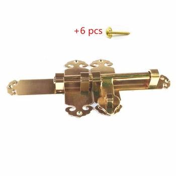 1Pcs Antique Solid Brass Small Security Door Sliding Bolt Barrel Door Chain Heavy Duty Garden Gate Slide Latch Lock +8pcs screws