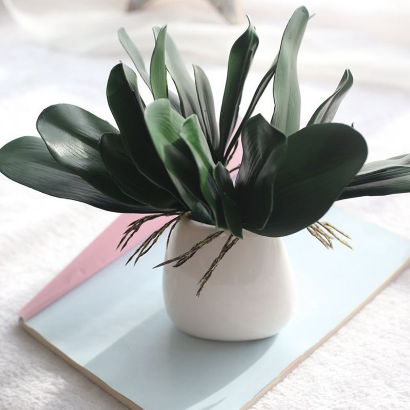 Artificial Green Leaves Butterfly Orchid Silk Leaf Fake Plant Decor Green Leaves For Wedding Decor DIY Wreath Gift