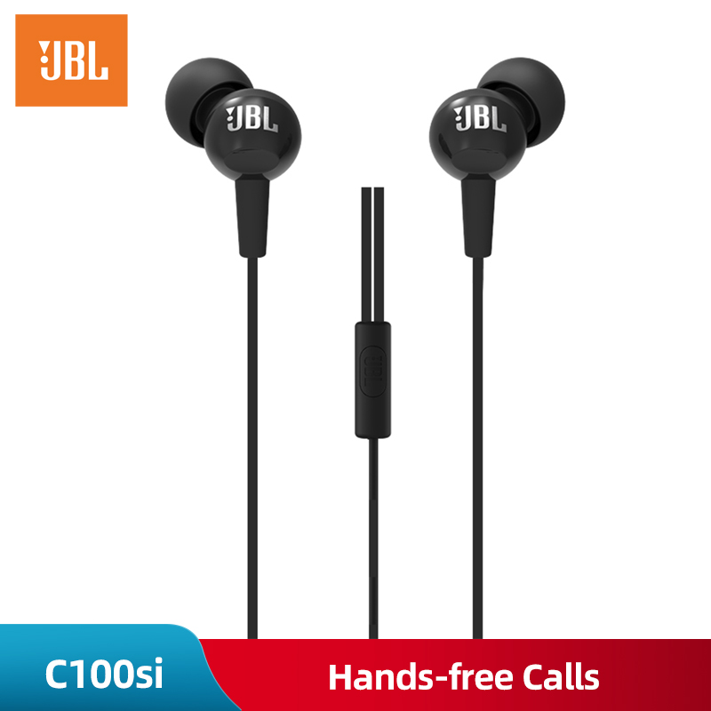 JBL C100SI 3.5mm Wired In ear earphones Stereo Music Headset Dynamic Earphone One Button Remote Hands free with Microphone Black-in Phone Earphones & Headphones from Consumer Electronics