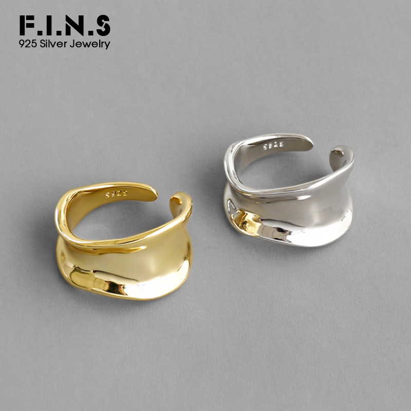 F.I.N.S Korean Style Woman S925 Sterling Silver Ring Irregular Concave Minimalist Glossy Open Female Ring Silver 925 Jewelry