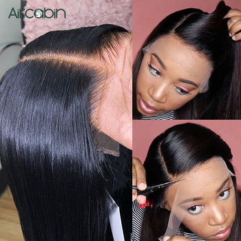 Aircabin 32 30 Inch Straight 13x4 Transparent Lace Front Wigs Brazilian Human Hair Lace Closure Wigs For Black Women Non-Remy