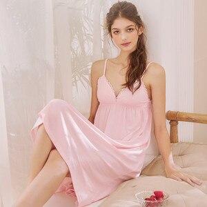 Image 2 - Roseheart Nữ Thời Trang Trắng Bông Màu Hồng Gợi Cảm Đồ Ngủ Cổ V Váy Ngủ Váy Ngủ Nữ Ren Váy Ngủ Đồ Ngủ Ban Đêm