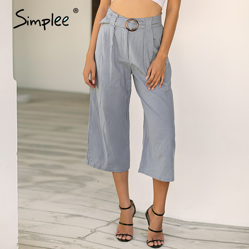 Simplee Spring Summer Solid Sexy Casual Women Pants Ruffles Wide Leg High Fashion Belt Trousers Casual Office Lady OL High Pants