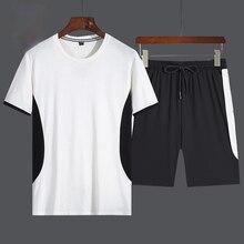 Men Summer Casual Set Fashion Patchwork Sportswear Suit Short Sleeved Tshirt+Shorts Hip Hop Street Jogging Male Tracksuit 2 PCS
