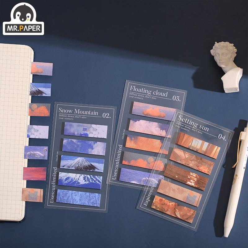 Mr Paper 100 шт./лот милые канцелярские блокноты в стиле Ins с цветами, снегом, горами, облаками, закатом, волнами, канцелярские принадлежности для офиса 2