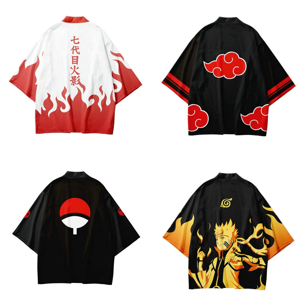 Naruto Akatsuki Red Cloud Kimono Cosplay Women Men Seven-point Sleeve Halloween Uchiha Itachi Costume Jacket