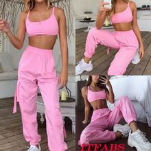 Women's Sleeveless Fitness Crop Top + Pants Shorts Leggings Workout Tracksuit Sports Wear Set Gym Running Suit