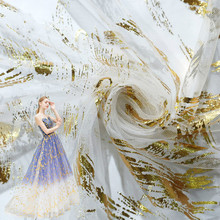 цена Bronzing Printing Mesh Fabric Textile Polyester Fabric DIY Craft Banquet Dress Wedding Dress Fabrics Sold By Meter в интернет-магазинах