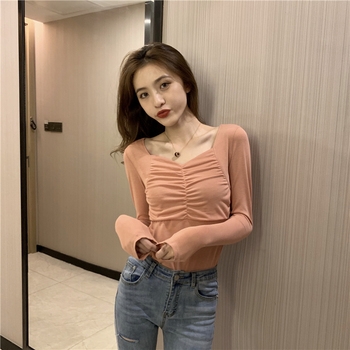 2020 autumn solid color vintage Draped new women shirts Long sleeve square Neck sexy Slim blouse tops tees Spring