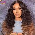 Счастливая Queen Малайзия свободная глубокая волна парики вьющиеся 13x4 HD Синтетические волосы на кружеве парики из натуральных волос на круже...
