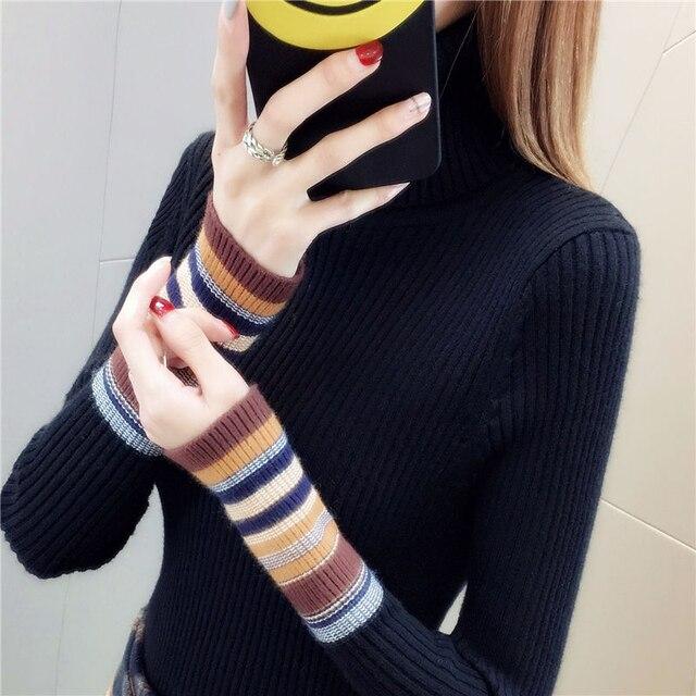 אלסטי סוודרים ארוך שרוול נקבה סוודרי גולף חורף סתיו נשים בגדי Streetwear מגשר סרוג חולצות שחור אדום S