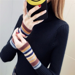 Image 1 - Elastic Sweaters Long Sleeve Female Pullovers Turtleneck Winter Autumn Women Clothes Jumper  Streetwear Knitted Tops Black Red S