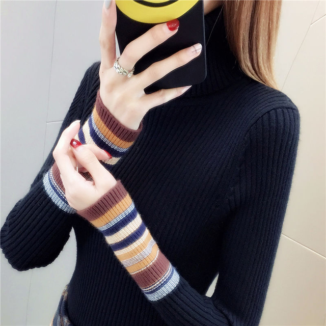 Elastic Sweaters Long Sleeve Female Pullovers Turtleneck Winter Autumn Women Clothes Jumper  Streetwear Knitted Tops Black Red S