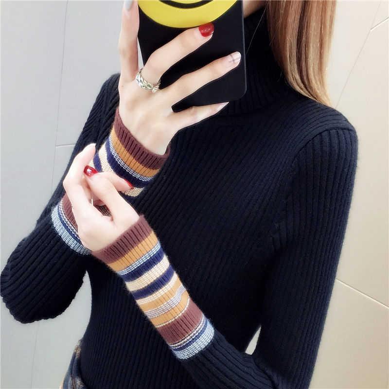 Elastische Pullover Lange-Sleeve Weibliche Pullover Rollkragen Winter Herbst Frauen Kleidung Jumper Streetwear Gestrickte Tops S