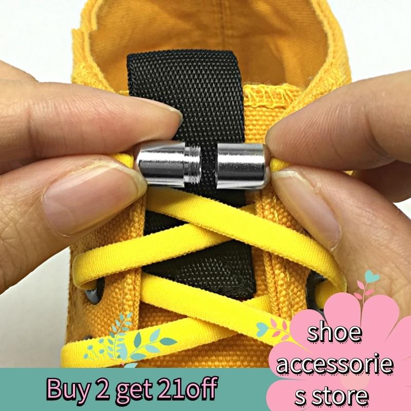 140m Third Version Elastic No Tie Shoelaces Metal Lock Shoe Laces For Kids Adult Sneakers Quick Shoelaces Semicircle Shoestrings