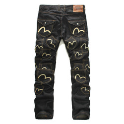 Evisu Casual Men's Breathable High Quality Button Casual Pants Warm Men's Tide Brand Jeans Straight Pocket Print Men's Trousers