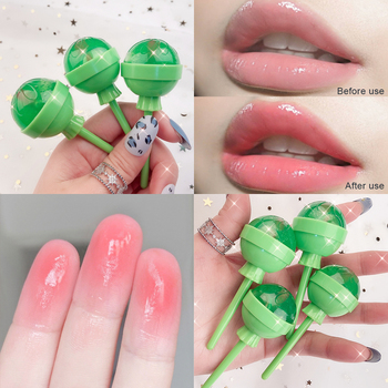 Temperature changing color lip oil 100% Aleo vera essence long lasting waterproof fruit smell moisture lollipop lip gloss AM212 image