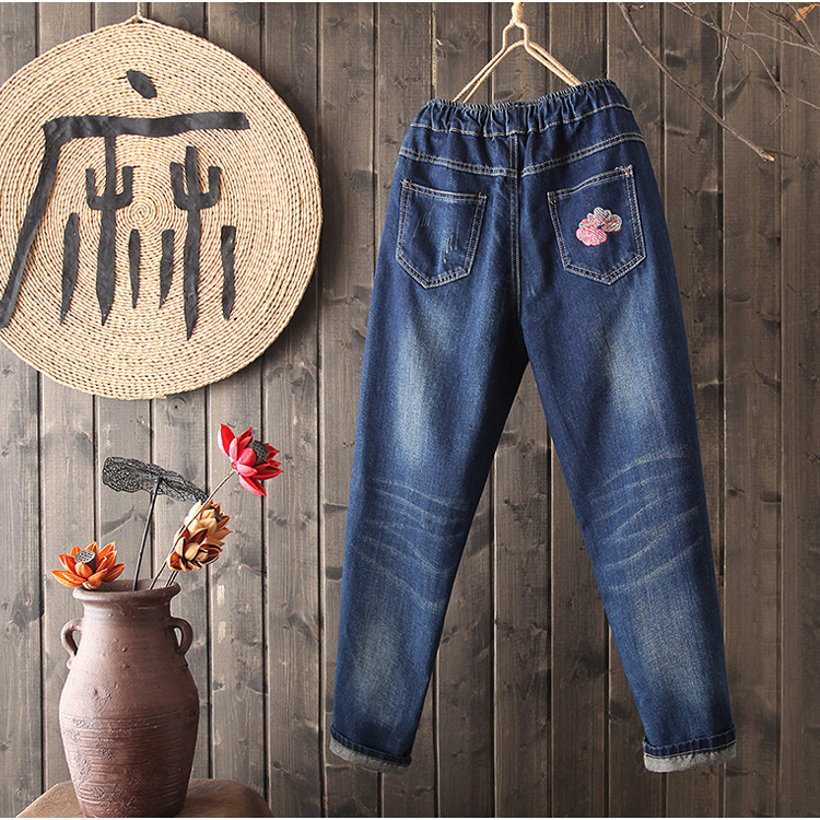 Spring And Autumn New Style Ethnic-Style 【xiu】 Crafts Hua Ku Children Large Size Loose Retro Embroidered Elastic Waist Jeans WOM