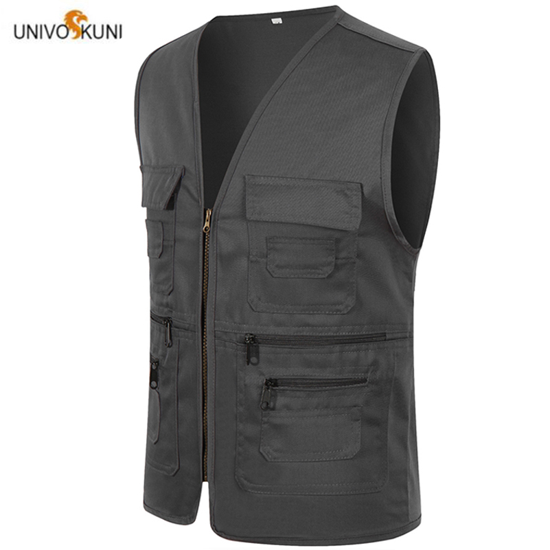 UNIVOS KUNI 2019 New Men Vest Work Wear Volunteer Soild Color Overalls Chest Pocket Male Big Size 3XL Q6037