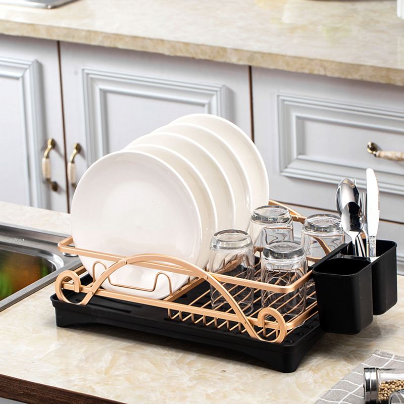 Gold Stainless Aluminium Kitchen Drying Dish Rack Sink Drain Holder Cutlery Drainer Accessories Storage Plate Organizer Shelf