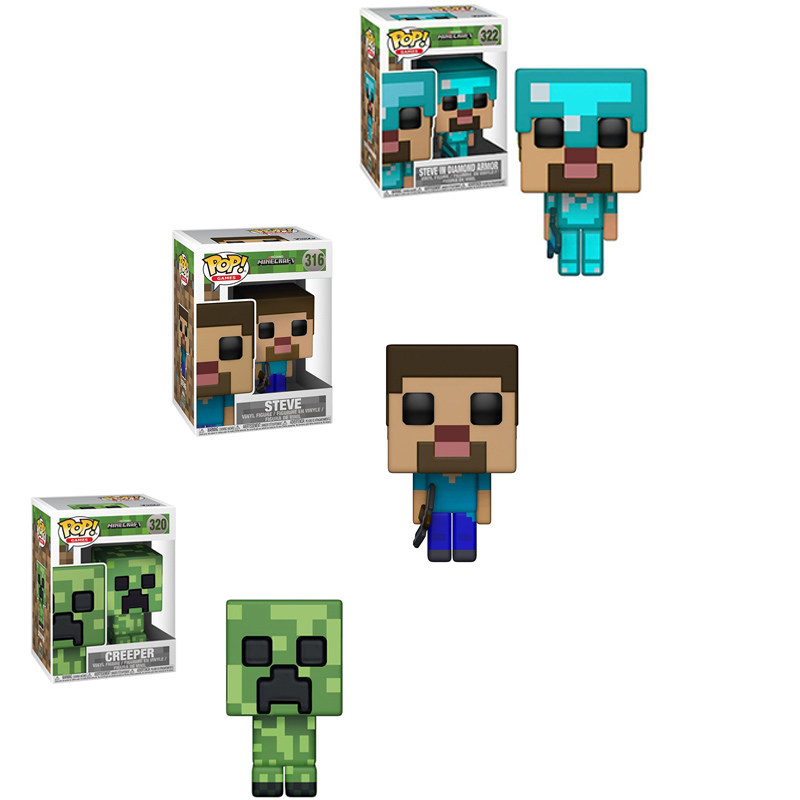 FUNKO POP New Arrival Minecraft & CREEPER STEVE STEVE IN DIAMOND ARMOR 10cm PVC Action Figure Toys For Children Xmas Gift