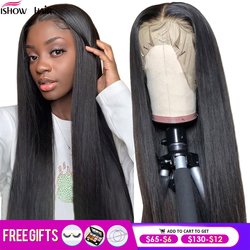 Ishow Straight Lace Front Wig Remy 360 Lace Frontal Wig 150% Density 13X4/13X6 Brazilian Straight Lace Front Human Hair Wigs