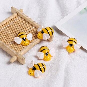 5 sztuk/partia żywica żółty sztuczne pszczoły Mini symulowane zwierzęta wisiorki dzieci zabawki glina diy ozdoba do włosów obudowa na telefon Decor