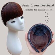 Короткие челки плетеные тупые натуральные шиньоны высокотемпературные женские волосы из синтетического волокна натуральные накладные волосы повязка на голову 2syles