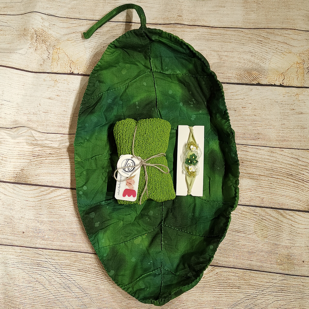 Leaf Shape Cushion+140*30cm Stretch Knit Wrap+matched Cotton Headband For Newborn Photography Props Baby Photo Shoot Accessories