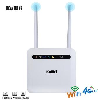 цена на KuWFi 3G/4G SIM Card Router 4G LTE CPE Router CAT4 150Mbps Unlocked 4G FDD/TDD With RJ45 Lan Port Support 32 Wifi Users