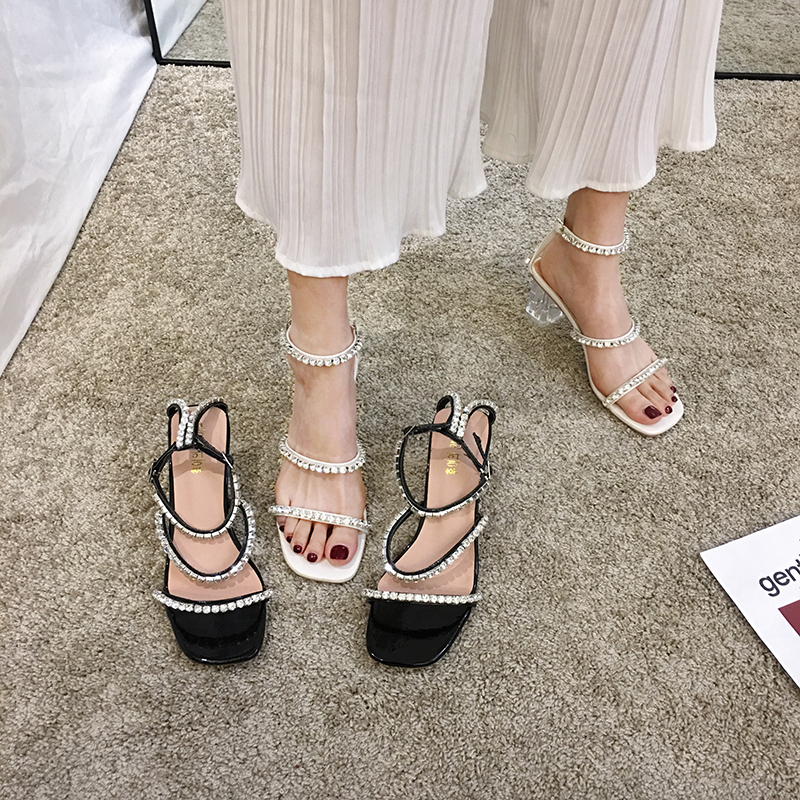 Women's Shoes Sexy Sandals 2020 Summer New Fashion Rhinestone Open Toe Word Buckle With Thick Heels