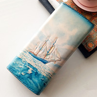 Handmade Women Carving The Blue Sea Sailboat Wallets Card Holder Purses Clutch Vegetable Tanned Leather Beautiful Gift