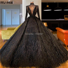 Arabic Dubai Feathers Evening Dresses Muslim Vestidos 2020 Long Sleeve Puffy Beading Prom Party Gowns Middle East Pageant Dress