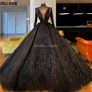 Image 1 - Arabic Dubai Feathers Evening Dresses Muslim Vestidos 2020 Long Sleeve Puffy Beading Prom Party Gowns Middle East Pageant Dress