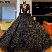 Arabisch Dubai Federn Abendkleider Muslimischen Vestidos 2020 Langarm Puffy Friesen Prom Party Kleider Nahen Osten Pageant Kleid