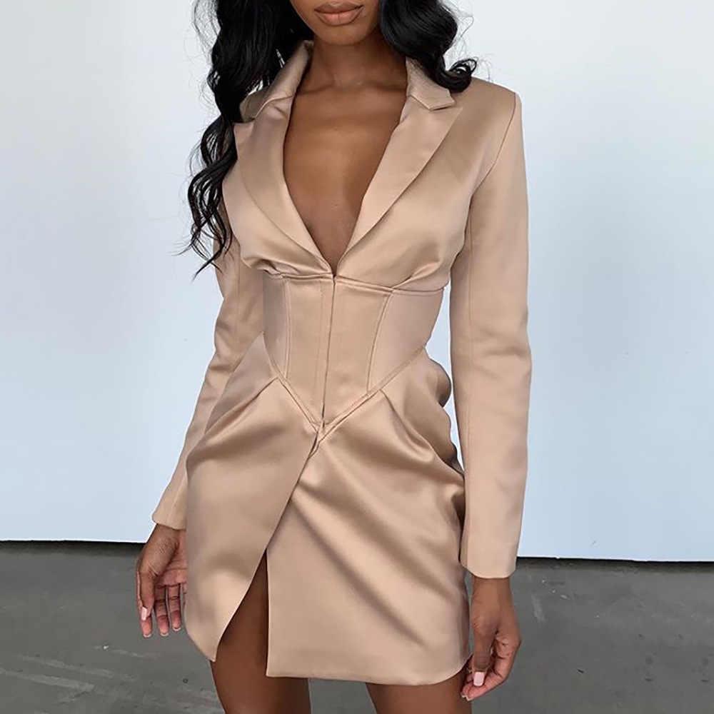 Cryptographic Deep V Neck americanas largas abrigos y chaquetas mujeres Turn-Down Collar de manga larga cubierto botón abrigos Blazers vestidos
