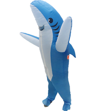 Halloween Cosplay Carnival Inflatable Shark Costume Party Costumes for Men Women Animal Clothes With Fan