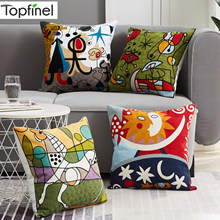 Topfinel Embroidery Cushions Covers Picasso Pillowcase Decorative Throw Pillows Covers For Sofa Car Bed Pillowcase 45x45cm