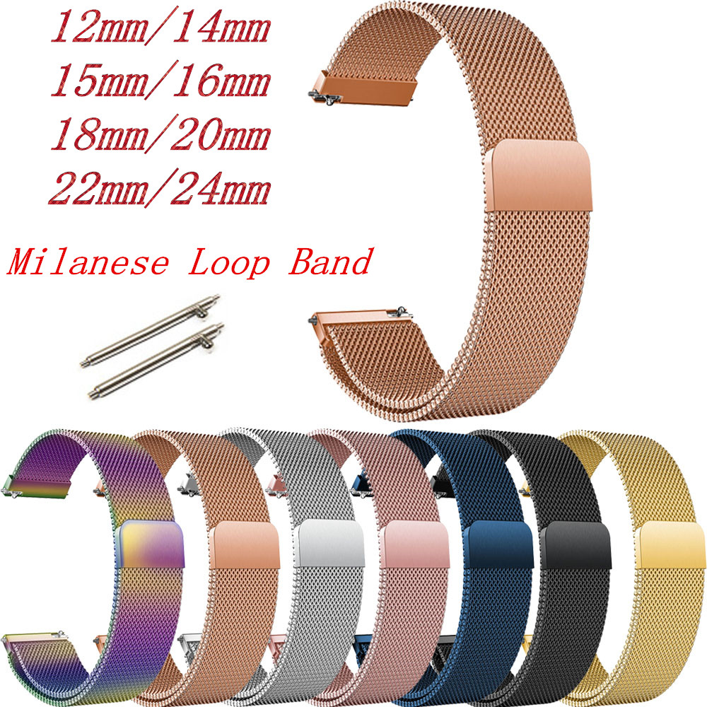 12/14/15/16/18/20/22/24mm Milanese Loop Strap For Samsung Gear S3 Frontier Bands 46mm 42mm Active Straps 20mm 22mm Band Bracelet