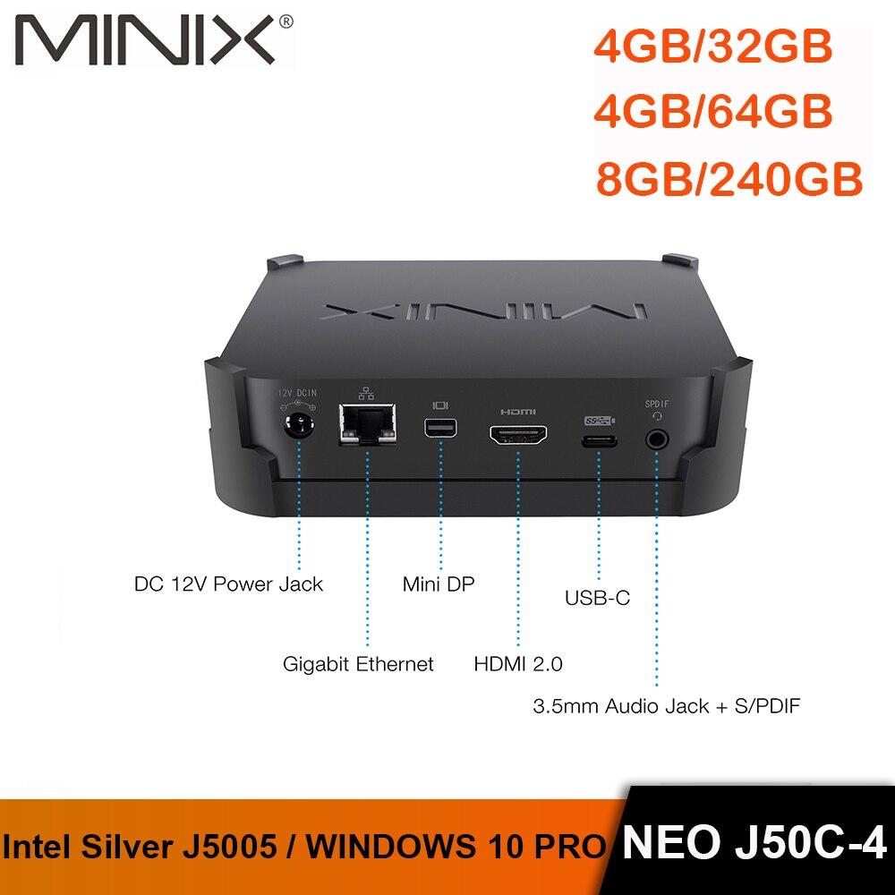 Minix neo J50C-4 oficial windows 10 pro série mini pc intel pentium prata j5005 ddr4 4 gb/64 gb hdmi 2.0 vesa montagem mini pc
