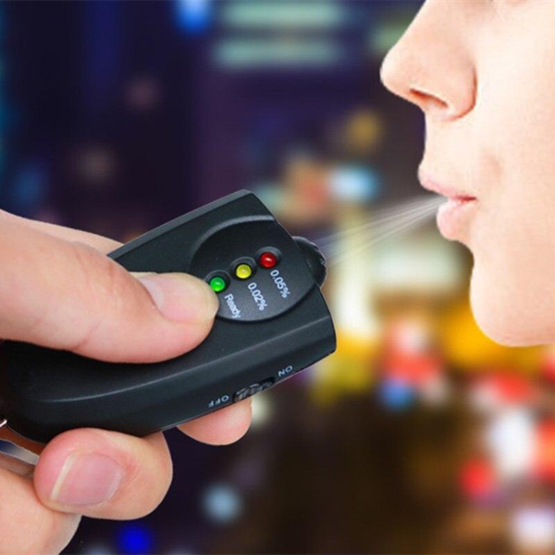 Mini Professional Key Chain Alcohol Meter Analyzer Portable Keychain Red Light LED Flashlight Alcohol Breath Tester Breathalyzer
