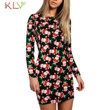 Christmas Dress Santa Claus Vintage Print Mini Dress Evening Party Dress Elegant 2020 New Year Costume Women Winter Dresses 19Sp(China)