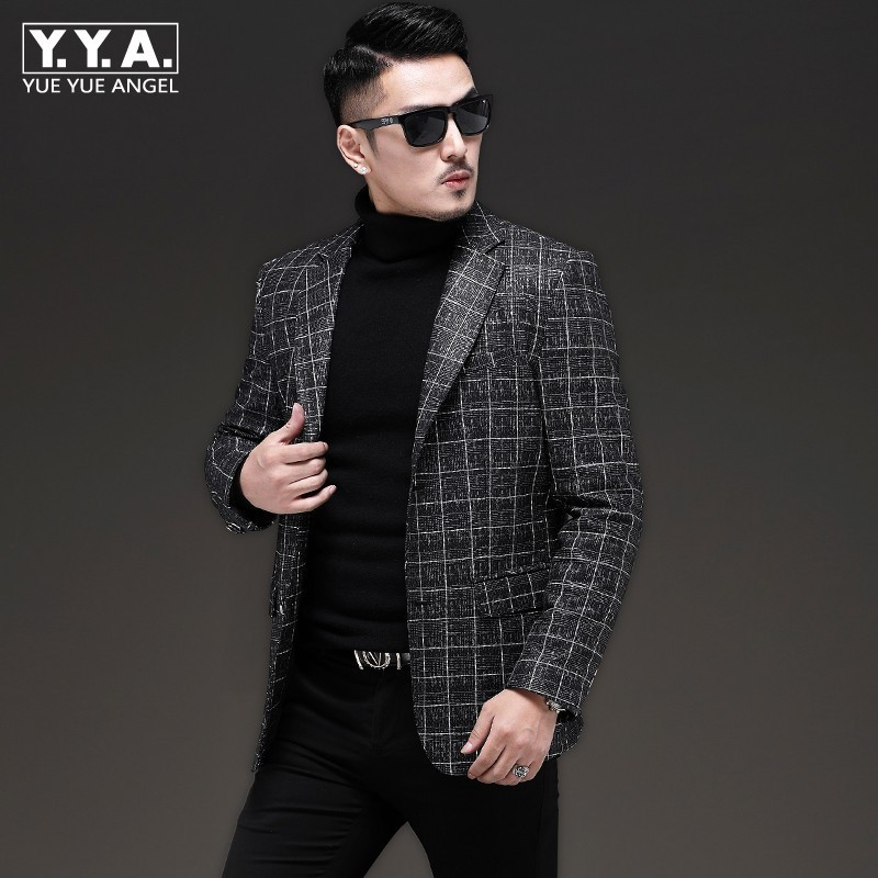 2020 New Men Genuine Leather Short Coat Autumn Luxury Business Casual Blazer Oversize Long Sleeve Slim Plaid Suit Jacket Outwear