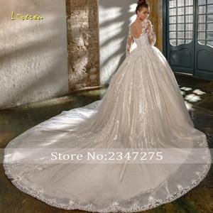 Image 2 - Loverxu セクシーな背中レースの王女のウェディングドレス 2020 高級アップリケビーズのチャペルの列車ヴィンテージブライダルドレス