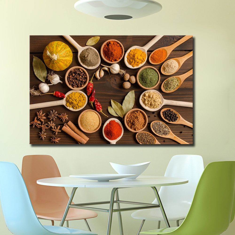 3D HD Print Kitchen Food Canvas Painting Picture Wall Spice Living Room Art